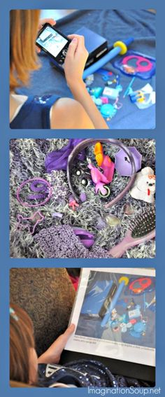 Kids Craft: DIY I Spy Book -- Create a collage with a variety of related objects, photograph them, and add hints below.