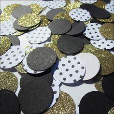 Black & Gold Glitter Confetti