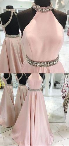 A line Halter Neckline Open Back Dust Pink Prom Dress