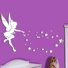 Funlife 70x46 27.5x18inch Tinkerbell Fairy Princess with Stars Letter Wall Decal Cartoon 3D Mirror Sticker Girls Room Wall Art-in Wall Stickers from Home & Garden on Aliexpress.com | Alibaba Group