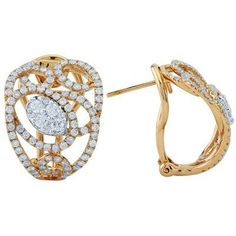 Diamond Omega Back Swirl Earrings In 18K Rose Gold |
