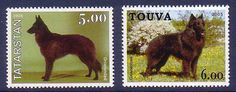 Belgian Groenendael Dogs 2 different MNH stamps