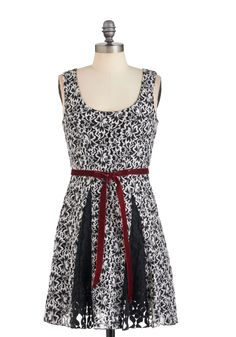 Godet by Day Dress - Black, White, Print, Party, A-line, Sleeveless, Fall, Belted, Mid-length
