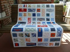 A family's treasured clothing made into a quilt for their new baby #Fabric, #Quilt, #Recycled