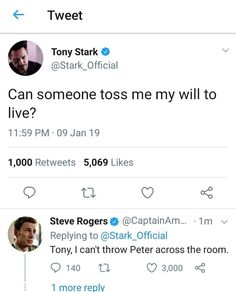 peter proceeds to be thrown across the room 2 mins later - Marvel - Humor Avengers Humor, Funny Marvel Memes, Marvel Jokes, Dc Memes, Marvel Dc Comics, Marvel Avengers, Funny Memes, Hilarious, Steve Rogers