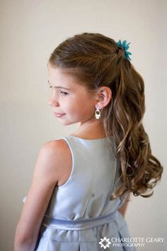 flower girl hair  | Flower girl with light blue dress and a half-up hairstyle