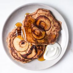 This apple pancakes recipe features a serving of whole grains and produce that you get to pour maple syrup over. Yes please!