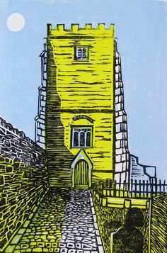 Items similar to Llantrisant Church Linocut on Etsy A Level Art Sketchbook, House Paintings, Pastel Paintings, Wood Engraving, Woodblock Print, Home Art, Printmaking, Design Art, Cymru