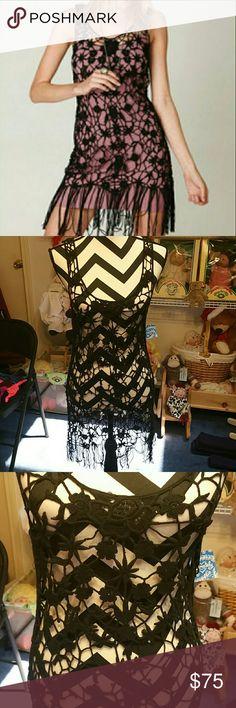 Free people crochet fringe  tunic nwt small black Free people  Crochet tunic  Size small  NWT free people Dresses