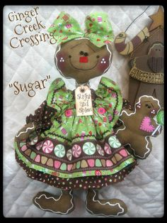 "♥ Primitive Sweet Gingerbread Doll ""Sugar"" w Baby ♥♥ Ginger Creek Crossing 