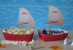 Moana Polynesian boat food snack trays and sail toppers for birthday party - PERSONALISED pdf printable treat favor popcorn box by GlitterInkDesigns on Etsy https://www.etsy.com/listing/501246304/moana-polynesian-boat-food-snack-trays
