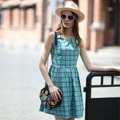 Veri Gude Summer Dress Plaid Dress Cotton Dress O-Neck Sleeveless. Letné  Šaty 10a953e39f8