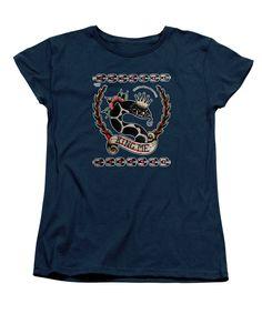 King Me Womens T-Shirt in navy by Donovan Winterberg