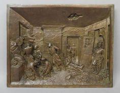 Superb-19c-L-Pilet-Bronze-Franco-Prussian-War-Last-Cartridges-Relief-Sculpture