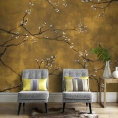 Digital Chinoiserie Wallpaper - Graham & brown panoramic non-woven wallpaper chinoiseries gold 300 x 280 cm gold Graham Et Brown Grey Jungle Wallpaper, Brown Wallpaper, Wallpaper Roll, Japanese Style Bedroom, Interior Wall Colors, Chinese Wallpaper, Bedroom With Bath, Chinoiserie Wallpaper, Asian Decor