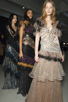 Fluffy trio, backstage at Rodarte Fall 2015 #nyfw
