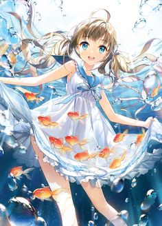 ✮ ANIME ART ✮ animals. . .fish. . .anime girl with animals. . .underwater. . .bubbles. . .sailor dress. . .twin tails. . .smile. . .cute. . .kawaii