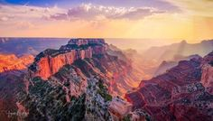Sunset at Wotan's Throne, Cape Royal, Grand Canyon - [OC] [2048x1170] : EarthPorn