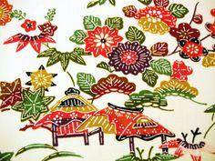 Colourful Floral Landscape scene Vintage Japanese by CosimaOrimono