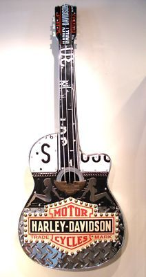 Handmade Cool Art H-D Guitar Americana Unique Full Size. My dad would love this. It combines 2 of his favorite things!! haha