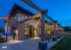 Bistro String Lighting Design - Omaha Restaurant Patio | McKay Landscape Lighting