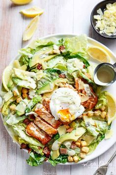 Salmon and Avocado Caesar Salad! Easy to make with a twist on the traditional and a lightened up Caesar dressing!