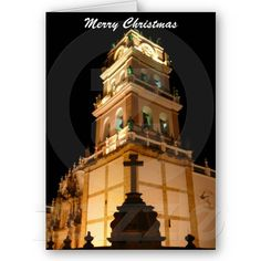Christmas card featuring church in Sucre, Bolivia lit at night.