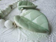 Vintage Porcelain Leaf Statement Necklace Faceted by tubbytabby