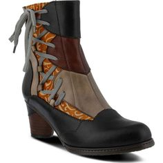 Spring Step Women's Mia Black Multi Boots ($180) ❤ liked on Polyvore featuring shoes, boots, black, black shoes, slip on leather boots, leather lace up boots, leather boots and black zipper boots