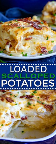 These Loaded Scalloped Potatoes are next level comfort food! Layers of potatoes with a rich, creamy sauce, cheese, bacon and caramelized onions make for an unforgettable side dish. This comfort classic just got taken to the next level! // Mom On Timeout Loaded Scalloped Potatoes Recipe, Homemade Scalloped Potatoes, Scalloped Potato Casserole, Cheese Scalloped Potatoes, Loaded Potato, Potato Sides, Potato Side Dishes, Vegetable Dishes, Bacon Recipes