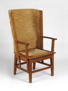 Orkney Chair, Kirkwall, Scotland (made) - 1971, Japanese oak frame, back filled with oat straw, and seat upholstered in sea-grass. This chair is a traditional type that has been made in the Orkney Islands since the early 1700s.