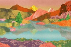 Orie's mountain art.   #山 #山の絵 #山イラスト #山アート #mountainart #popart Painting, Painting Art, Paintings, Painted Canvas, Drawings