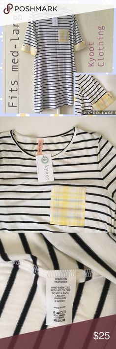 Striped Black/ White Dress M/L NWT Half sleeve striped bw dress with functional pockets. Medium but will also fit large. Im a true size 6, but this fits me loose. Best with size 8 and large. Cute and flowy! Pet and smoke free home. Kyoot Clothing Dresses