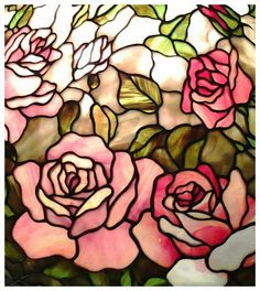 Stained glass rose lamp detail - Maresh