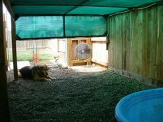 Instead of building an expensive enclosure, why not just bring your dog inside if it's over 100 degrees? Pets are family.