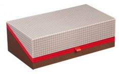 Coffret rectangle décor vichy marron/effet cuir/coloris rouge 27 x 15 x 9 cm