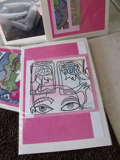 FOUR PINK original mixed media collages by spitfaced on Etsy