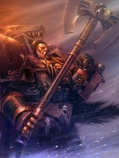 """Warhammer 40k, Space Wolves Legion - """"The Space Wolves' current Great Wolf, Logan Grimnar."""""""