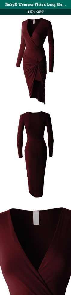 RubyK Womens Fitted Long Sleeve Asymmetrical Side Knotted Bodycon Dress-BURGUNDY-M. Look ultra feminine in this fitted long sleeve asymmetrical side knotted bodycon dress. Made of a super soft and stretchy material, this form fitting dress will show off your silhouette. Go from day to night by pairing it with heels for a girls night out. Sizing Info Small- Bust: 28in Shoulder: 14in Sleeve: 19in Length: 46in Medium- Bust: 30in Shoulder: 15in Sleeve: 19.5 in Length: 47in Large- Bust: 32in...