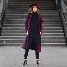 Monki Coat, Oasis Hat, Oasis Turtleneck, Shellys London Shoes, Oasis Pants