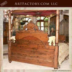Hand Carved King Or Queen Bed Of Solid Wood With Gold Leafs Decors From A Castle Distinctive For Its Traditional Properties Antiques Antique Furniture