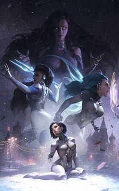 """""""Muerta"""" by XiaoGuang Sun : Cyberpunk Cyberpunk Kunst, Cyberpunk Girl, Cyberpunk Rpg, Character Concept, Character Art, Concept Art, Comic Kunst, Comic Art, Akali League Of Legends"""