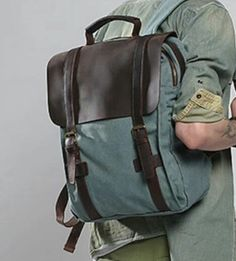 Leather and canvas two-tone tone backpack.