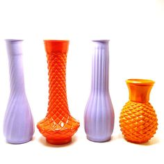 vintage milk glass vases  //  bright orange, lilac purple, upcycled vase, 60s decor, retro, colorful, wedding, centerpiece