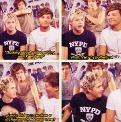 haha niall looks like he's about to eat louis after he says that! :D -Harrys face at Niall on the last one. One Direction Humor, I Love One Direction, Zayn Malik, Niall Horan, Do You Swallow, Bae, James Horan, 1d And 5sos, Liam Payne