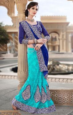 Angelic Aqua Blue and Indigo Blue Saree - Sarees - Women