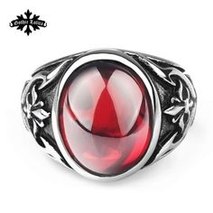 Designer Thumb Fashion vintage royal ruby crusaders anchor anel masculino finger ring gothic punk Stainless Steel ring for men
