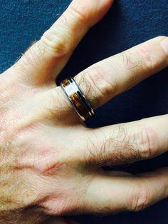Black Stone and Koa Hawaii Titanium Ring® Wedding Ring Hand, Wedding Rings, Matching Rings, Titanium Rings, Solid Black, Wedding Anniversary, Wilderness, Jet, Hawaii