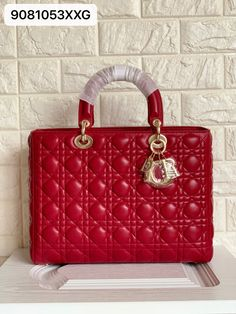 Christian Dior woman ladydior large size tote bag red