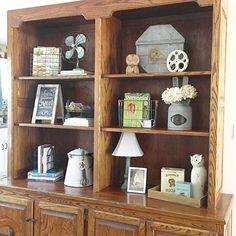 Farmhouse style shelf styling